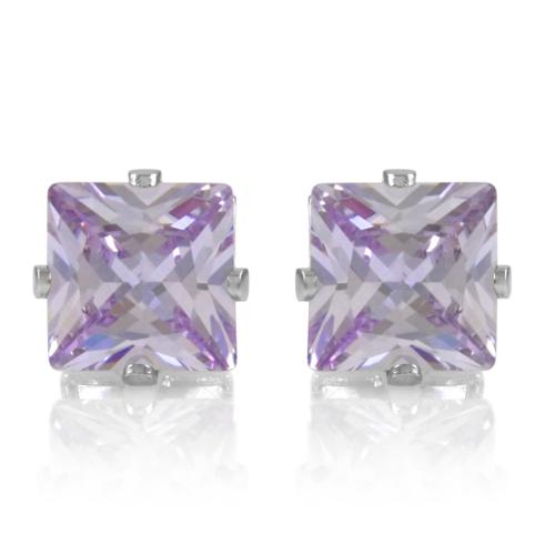 Emitations Lavender Square Cut Cubic Zirconia Non Pierced Magnetic Earrings