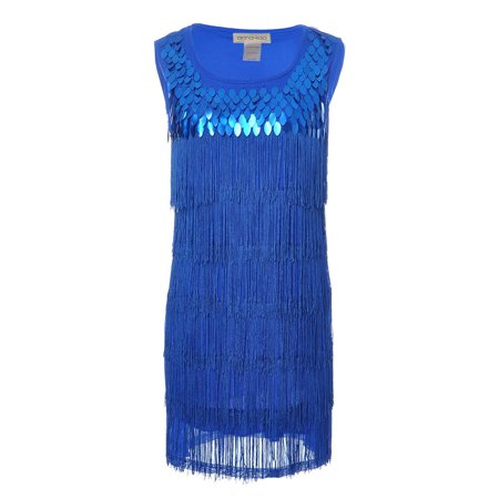 Fringe Flapper Dress (Sequin Fringed Sleeveless Solid color 1920s Flapper Party)