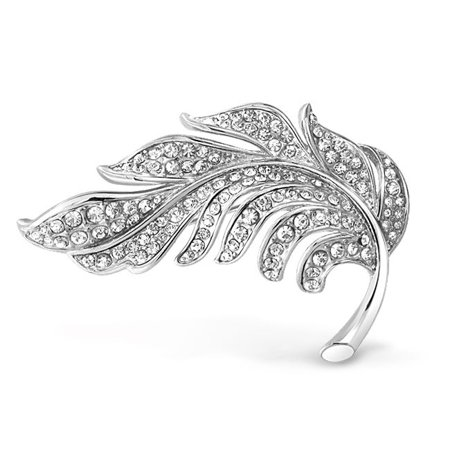 Fashion Statement Crystal Pave Nature Large Scarf Leaf Brooch Pin For Women For Mother Silver Plated Brass