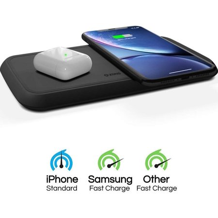 ZENS Dual Wireless Phone Charging Pad | Qi Charging Pad with 2X 10 Watt Power Output | Supports Samsung Fast Charging | Works Qi Enabled Devices | Includes AC/DC Adapter | Black