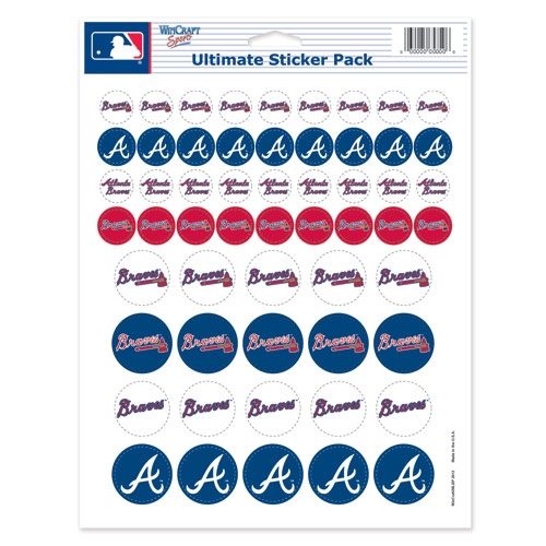 Atlanta Braves Official MLB 8.5 inch x 11 inch  Sticker Sheet by Wincraft
