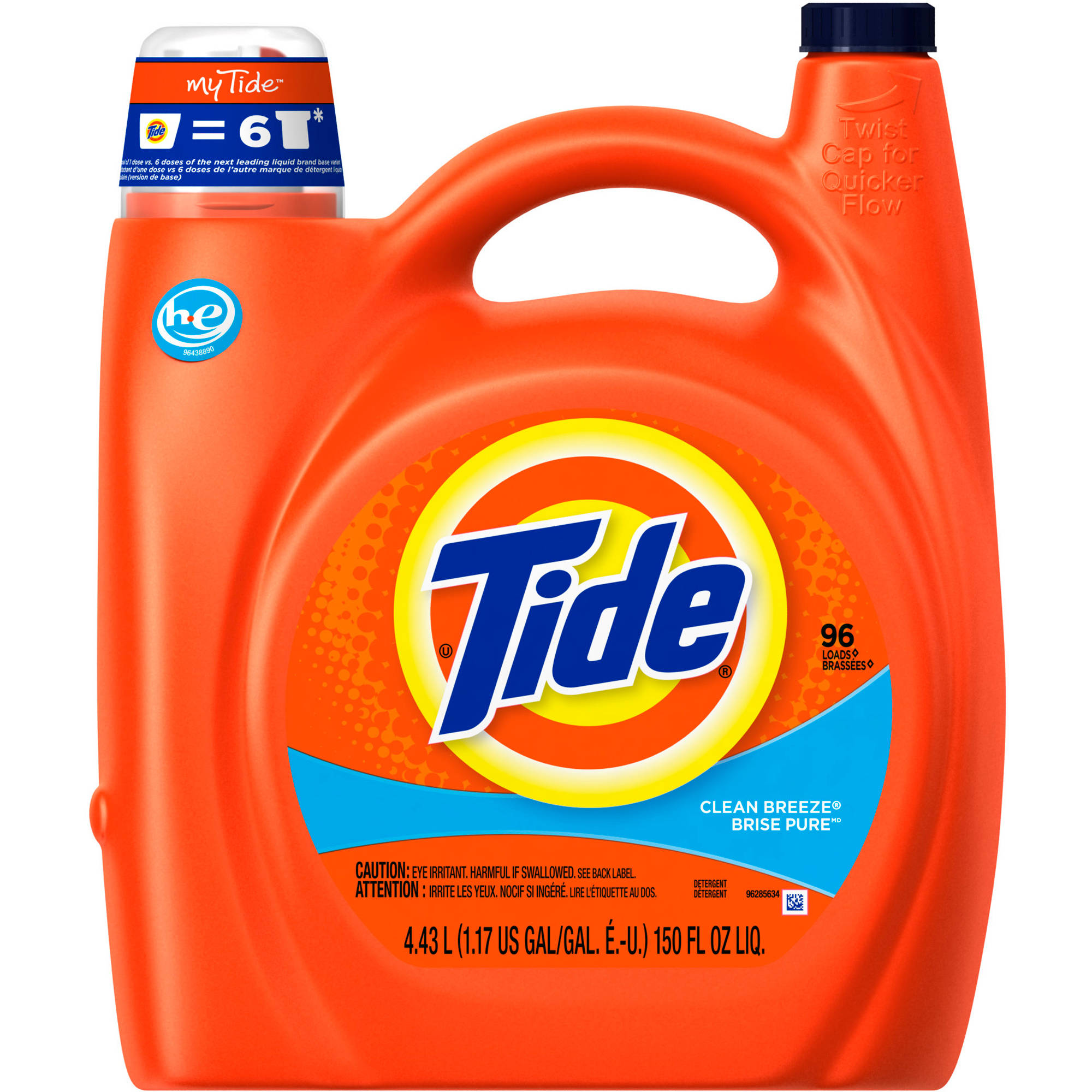 Tide Clean Breeze Scent HE Turbo Clean Liquid Laundry Detergent, 96 Loads 150 oz