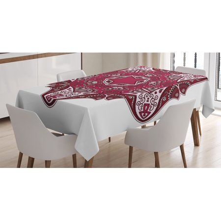Maroon Tablecloths (Mandala Decor Tablecloth, Maroon Authentic Asian Universe and Microcosm Icon Tribal Effects Mystic Locus Print, Rectangular Table Cover for Dining Room Kitchen, 52 X 70 Inches, Red, by)