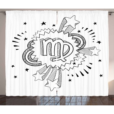 - Zodiac Virgo Curtains 2 Panels Set, Doodle Style Astrology Symbol on 1960s 1970s Pop Explosion Background, Window Drapes for Living Room Bedroom, 108W X 96L Inches, Black and White, by Ambesonne