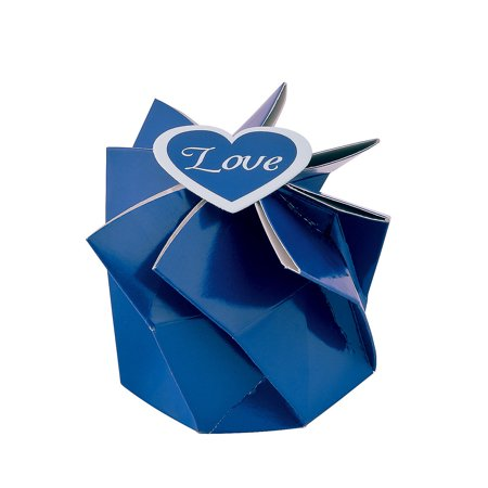 Fun Express - Blue Wedding Blossom Boxes for Wedding - Party Supplies - Containers & Boxes - Paper Boxes - Wedding - 12 Pieces - Center Pieces For Wedding