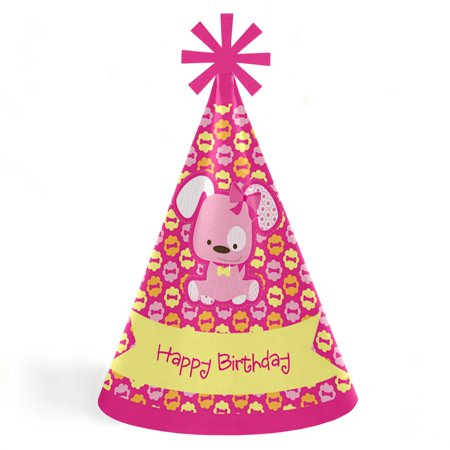 Girl Puppy Dog - Cone Happy Birthday Party Hats for Kids and Adults - Set of 8 (Standard - Birthday Hat For Dog
