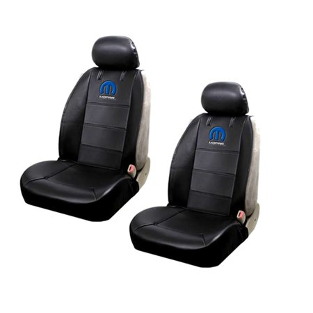 Official Licensed 2 Piece Mopar Synthetic Leather Sideless Seat Covers 2 Headrest Cover Car Truck SUV