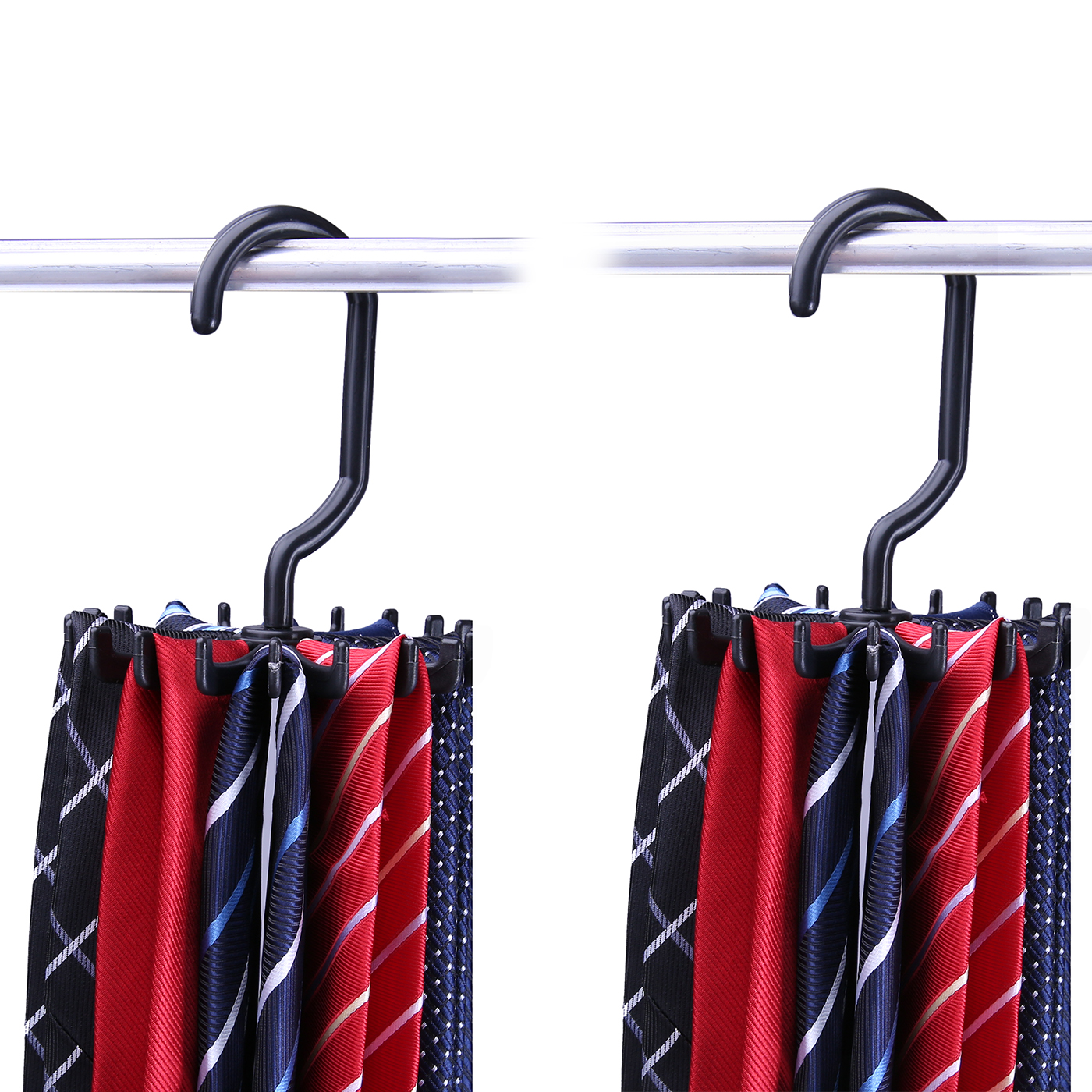 HDE Rotating Closet Tie Rack 2 Pack Necktie Hanger Organizer Compact  Non Slip Rotating Design