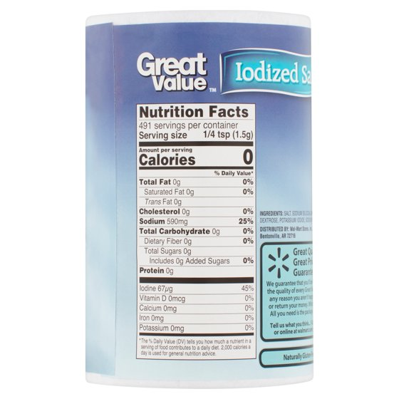 Great Value Iodized Salt, 26 oz - Walmart com