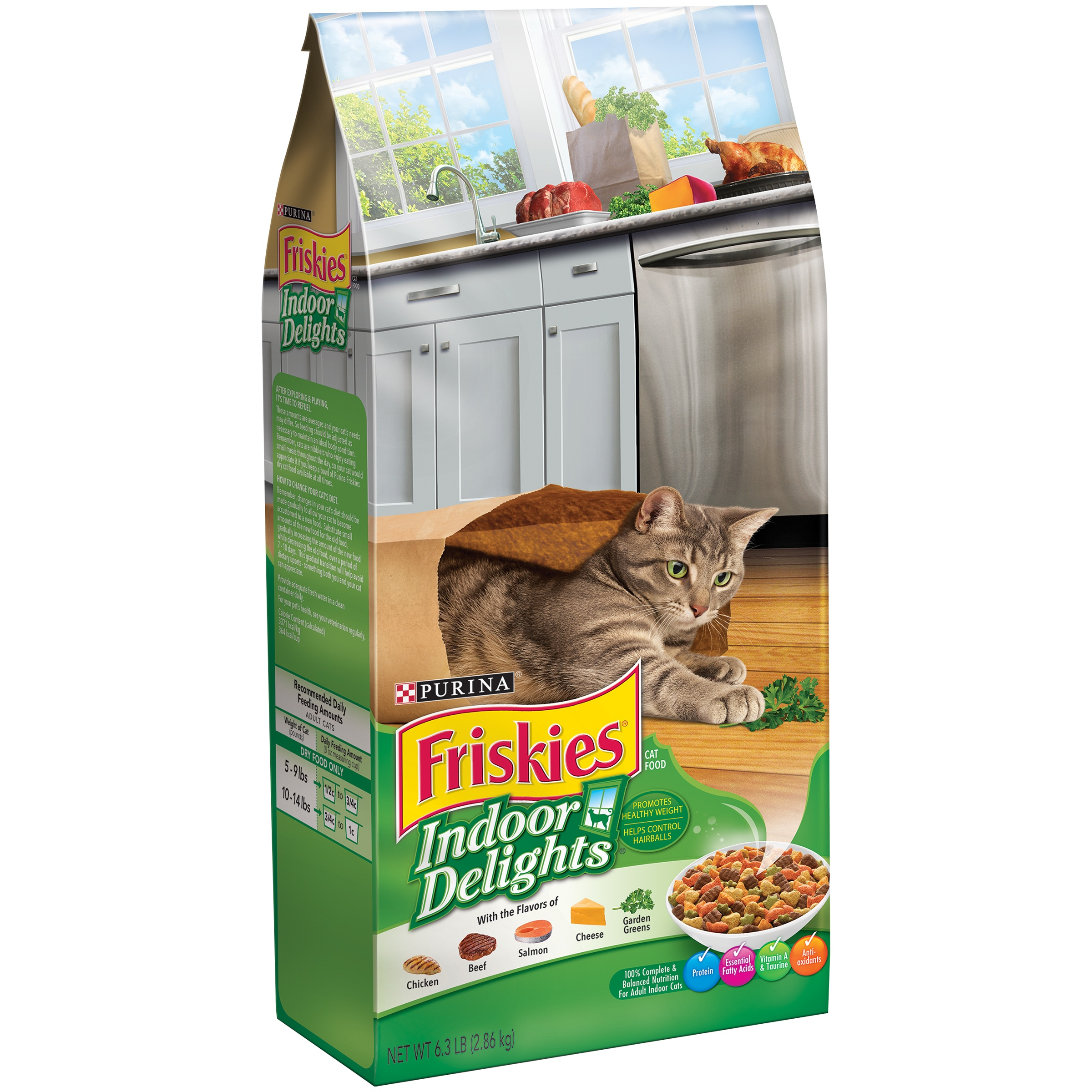 Purina Friskies Indoor Delights Chicken, Beef, Salmon, Cheese, Garden Greens Flavors Adult Dry Cat Food, 6.3 lb