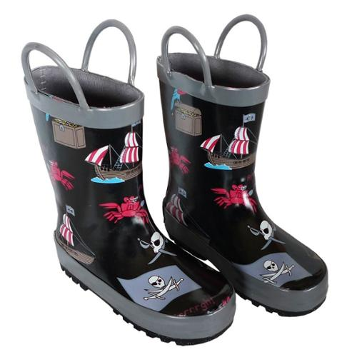 Black Pirates Toddler Boys Rain Boots 7