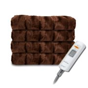 Sunbeam Faux Fur Ultra-Soft Heated Electric Throw Blanket - Walnut Brown