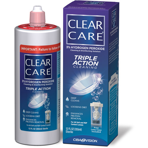 Clear Care Cleaning & Disinfecting Solution, No Rub, 12 fl oz