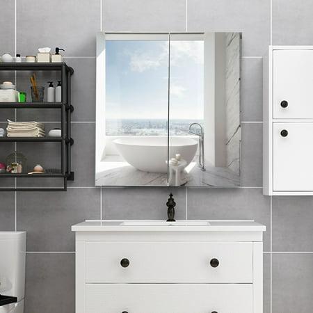 Gymax 24 39 39 Wide Wall Mount Mirrored Bathroom Medicine Storage Cabinet 2 Mirror Door New