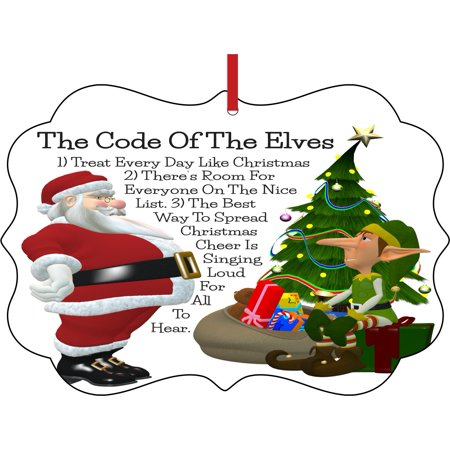 Ornament The Code of the Elves Ornaments Elf Santa Klaus Elegant Aluminum Semigloss Christmas Ornament Tree Decoration - Unique Modern Novelty Tree Décor Favors - Favor Discount Code