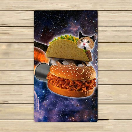GCKG Hamburgers Space Cat Beach Towel Shower Towel Wrap For Home and Travel Use Size 16x28 inches Cat Beach Towel