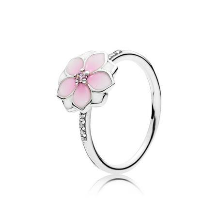 Navy Enamel Ring - Magnolia Bloom, Pale Cerise Enamel & Pink CZ Ring sz 60 191026PCZ-60