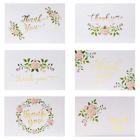 Thank You Cards - 48-Count Thank You Greeting Cards, Bulk Thank You Notes for Wedding, Baby Shower, 6 Elegant Rose Flower Designs with Gold Foil Print, White Envelopes Included, 4 x 6 Inches Golden Retriever Note Cards