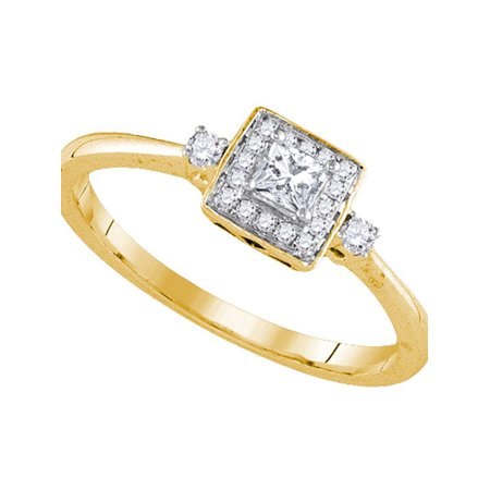 14kt Yellow Gold Womens Princess Diamond Solitaire Bridal Wedding Engagement Ring 1/4 Cttw - image 1 of 1
