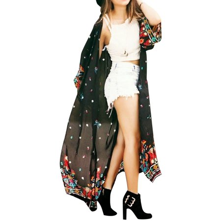 - Starvnc Women Long Sleeve Chiffon Kimono Boho Floral Bikini Cover Up