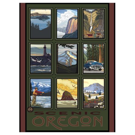 Scenic Oregon Collage Travel Art Print Poster by Paul A. Lanquist (9