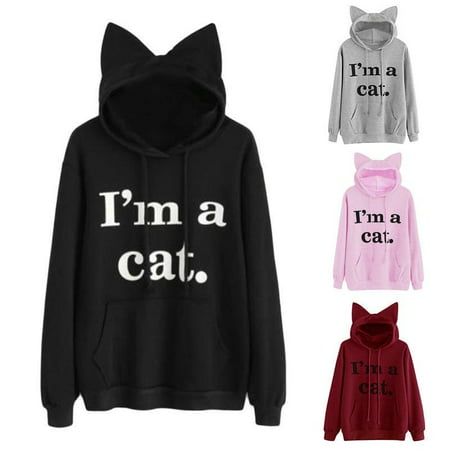Fashion Ladies Girls I'm a Cat Letter Print Long Sleeve Kangaroo Pockets Hoodie Cute Cat Ear Pullover Sweatshirts
