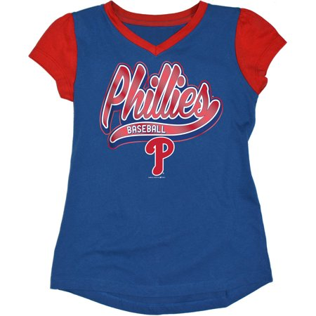 MLB Philadelphia Phillies Girls Short Sleeve Team Color Graphic - Philadelphia Phillies Baseball Team