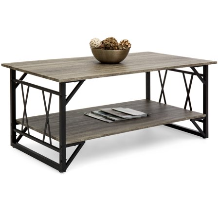 Best Choice Products Wooden Modern Contemporary Coffee Table for Living Room, Office with Open Shelf Storage, Metal Legs, Gray ()