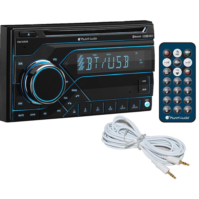 Planet Audio PB475RGB 2-DIN CD MP3 USB AM/FM Bluetooth Car Receiver + Free AUX