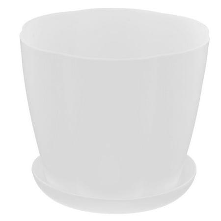 Household Desktop Plastic Round Shaped Plant Flower Planter Pot Tray White ()