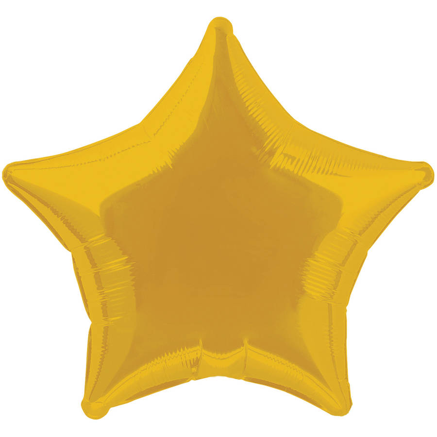 Foil Balloon, Star, 20 in, Gold, 1ct