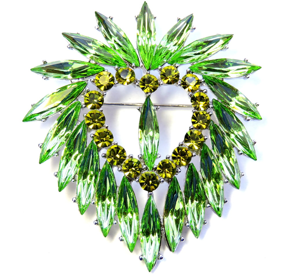 Faship Green Crystal Heart Pin Brooch Pendant For St. Patrick'S Day by Faship