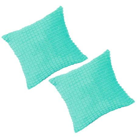 "Faux Fur Plush Throw Pillow Cover Fluffy Cushion Cover Sofa 2pcs(20""x20"", Cyan) - image 1 of 10"