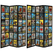 Oriental Furniture 6 Ft tall Double Sided Rider-Waite Tarot Canvas Room Divider, 3 panel, colorful
