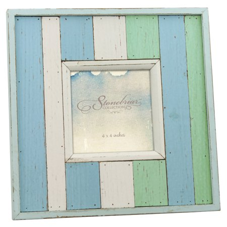 Stonebriar Collection worn painted wood 4x4 photo frame