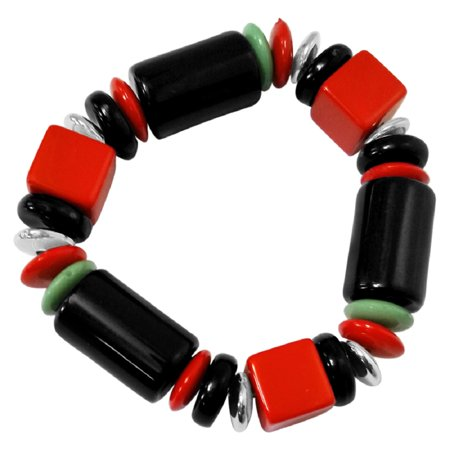 RW Collections Bracelet, Zoe Chunky Stretch Bracelet (Red, Black, Green)