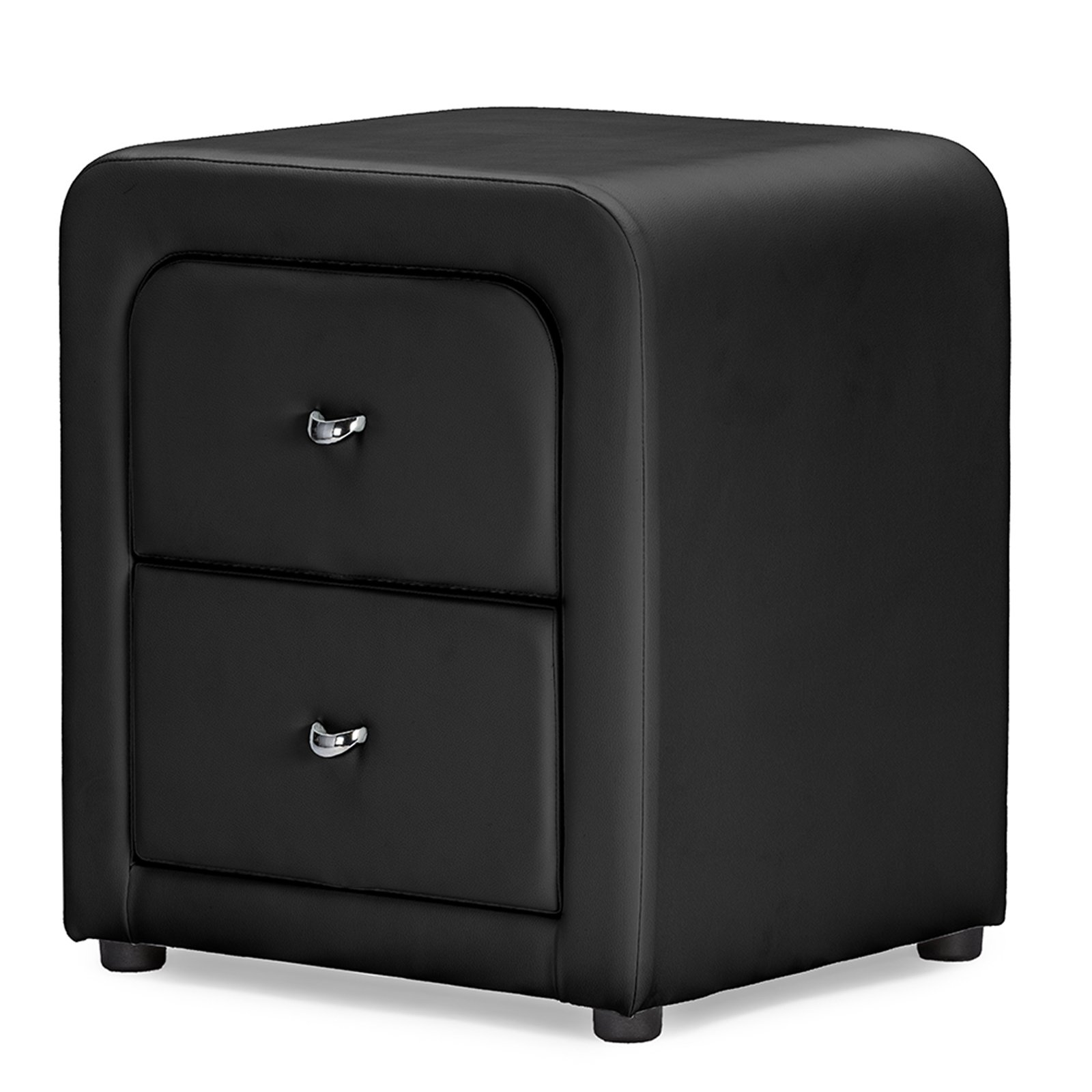 Baxton Studio Bourbon Faux Leather Upholstered Modern Nightstand, Multiple Colors