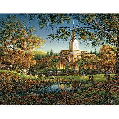 White Mountain Puzzles Countryside Church Jigsaw Puzzle, 1000-pieces