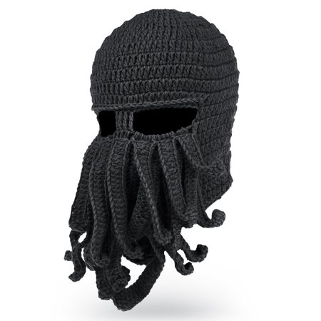 Black Knit Beanie Cap Hat (Octopus Cthulhu Knit Beanie Hat Cap Wind Ski Mask in Black )