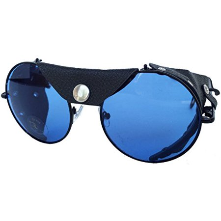 Road Vision Round Lens Motorcycle Sunglasses (Black Frames / Blue)