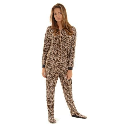 Womens Leopard Print Footed Pajamas Micro Fleece Zip Up Onesie Footie - Leopard Onesie For Women