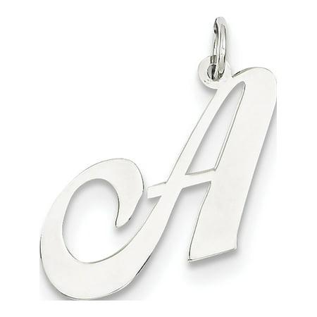 Leslies Fine Jewelry Designer 14k White Gold Large Fancy Script Initial A (25x22mm) Pendant