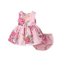 The Children's Place Baby Girl Sleeveless All Around Floral Print Lace Pleat Dress Bloomer 2 Piece Set
