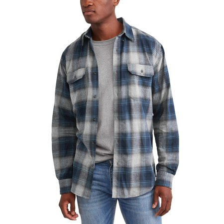 Men's Long Sleeve Flannel Shirt, Up To (Military Button)