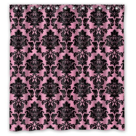 MOHome Pink and Black Damask Shower Curtain Waterproof Polyester Fabric Shower Curtain Size 66x72 inches](Pink Damask)