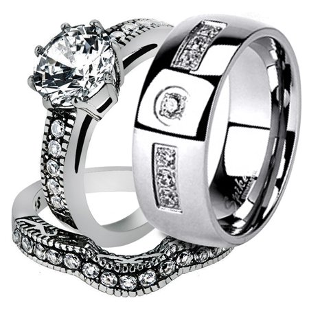 His & Her Stainless Steel 2.29 Ct Cz Bridal Ring Set & Men Zirconia Wedding Band Women's Women's Size 10 Men's Size -