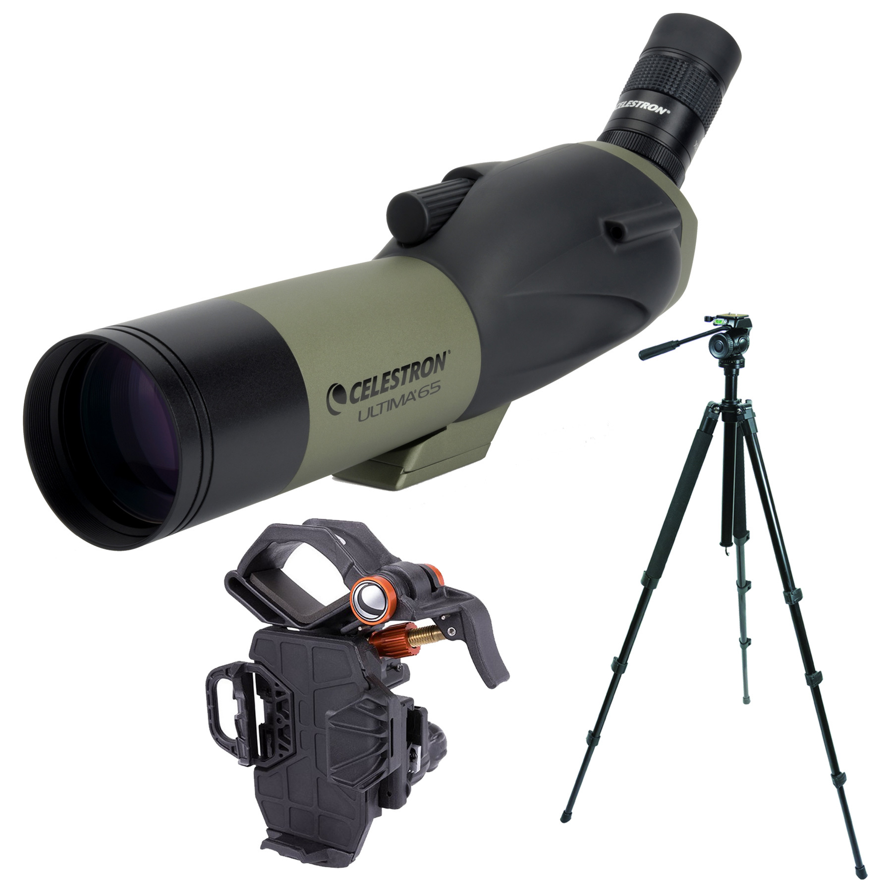 Celestron Ultima 65mm (Angled) Spotting Scope and TrailSeeker Tripod and NeXYZ