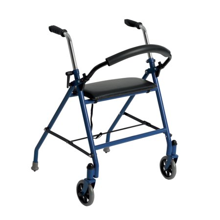 Drive Medical Two Wheeled Walker with Seat, Blue