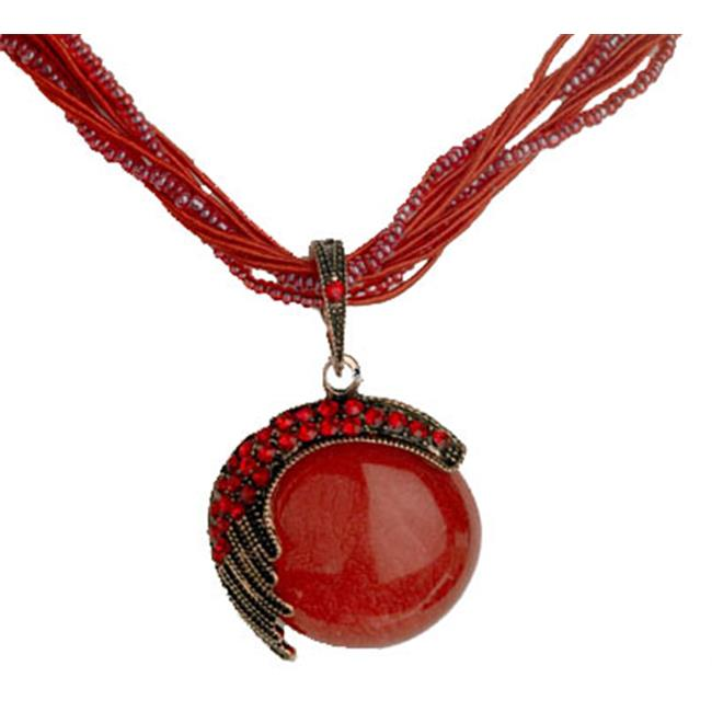 Designer Jewelry N7889R Red Beautiful Bead Necklace