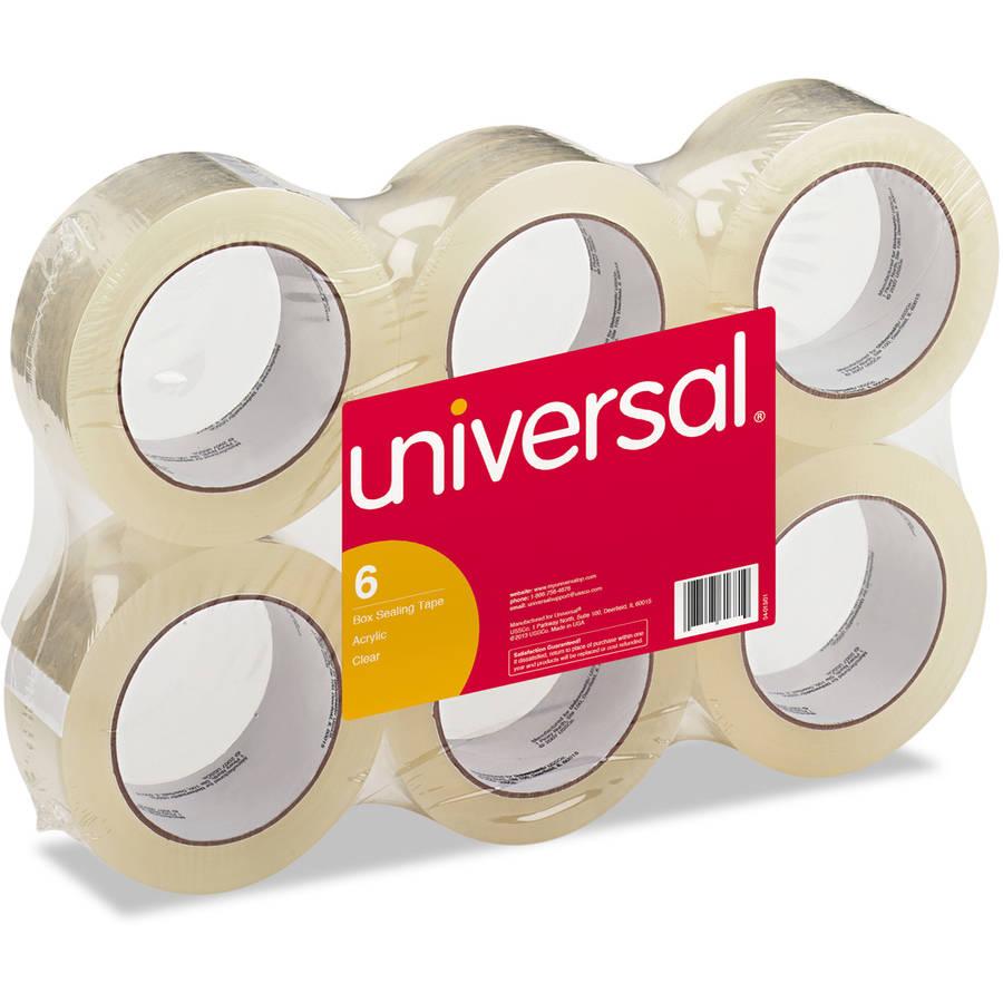"Universal General-Purpose Box Sealing Tape, 48mm x 54.8m, 3"" Core, Clear, 6 per pack"